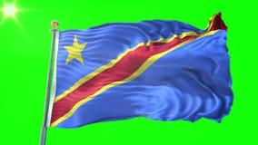 刚果民主共和国旗子无缝的使成环的3D翻译录影 美好纺织品布料织品圈挥动 向量例证
