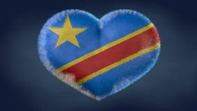 刚果民主共和国旗子的心脏 向量例证