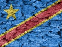 刚果民主共和国旗子纹理  库存图片