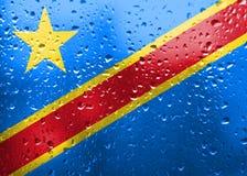 刚果民主共和国旗子纹理  免版税库存图片