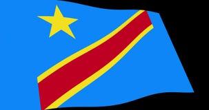 刚果民主共和国旗子缓慢挥动在透视,动画4K英尺长度 库存例证