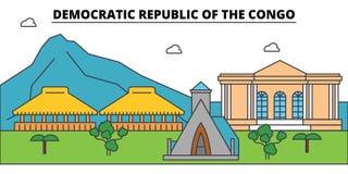 刚果民主共和国概述城市地平线,线性例证 皇族释放例证