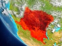 刚果民主共和国的卫星看法红色的 库存图片