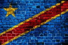 刚果民主共和国的国旗砖backgro的 免版税库存照片