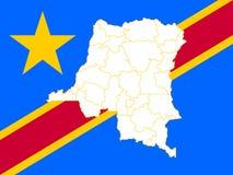 刚果民主共和国的地图和旗子 库存例证