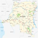 刚果民主共和国路传染媒介地图Kopie 库存照片