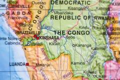 刚果民主共和国国家地图 图库摄影