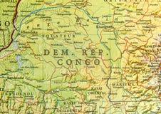 刚果民主共和国国家地理地图有重要城市的 库存图片