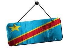 刚果民主共和国旗子, 3D翻译,葡萄酒gru 免版税库存照片