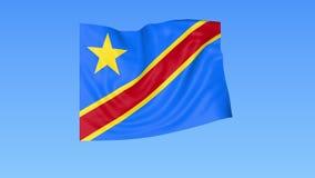 刚果民主共和国的挥动的旗子,无缝的圈 确切大小,蓝色背景 被设置的所有国家的地区 库存例证