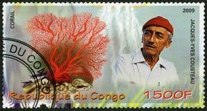 刚果- 2009年:展示珊瑚和雅克Cousteau (1910-1997) 免版税库存照片