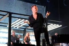 创伤synthpop带在音乐会执行在节日de les Arts 免版税库存图片