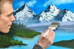 创建山水画的艺术家 免版税库存图片