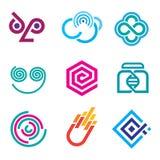 创新五颜六色的社会网络科学套象和概述标志 库存图片