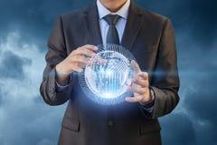 创新企业技术在商人的手上 库存图片