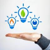 创新供选择的清洁能源想法电灯泡 免版税库存照片
