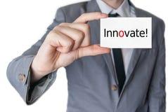 创新 企业生意人看板卡藏品 免版税库存照片