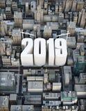 创立2019年 事务,建筑,成长概念 3d城市的翻译例证 免版税库存图片