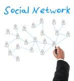 创造一张社会网络图的商人 库存图片