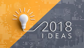 2018年创造性与电灯泡的启发概念 免版税库存照片