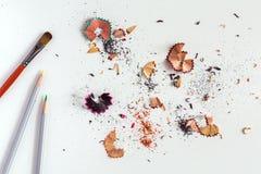 创造性刷子颜色铅笔和木片的概念图象 库存图片