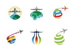 创造性和五颜六色的飞机地球行星标志设计 免版税库存图片