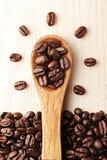 创造性咖啡和木匙子 库存图片