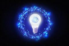 创造性抽象技术背景,创新,想法和未来派想法的概念 免版税库存图片