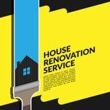 创造性的与在黄色隔绝的画笔的房子整修服务蓝色商标设计模板传染媒介  库存例证