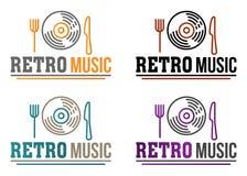 创造性的与服务唱片的传染媒介减速火箭的音乐商标 音乐酒吧、餐馆、咖啡馆、菜单和任何地方的概念用食物 皇族释放例证
