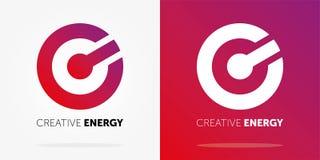创造性的与梯度的能量动态商标 抽象商标设计 创造性的商标 库存例证