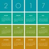 2017创造性的五颜六色的日历 免版税库存照片