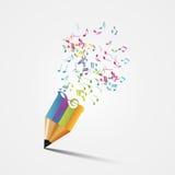 创造性的五颜六色的音乐铅笔 在老笔纤管滚动葡萄酒文字黄色附近仍然登记概念生活 向量 库存照片