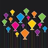 创造性的五颜六色的风筝样式背景 图库摄影