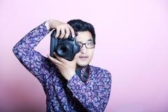 创造性的亚裔摄影师  图库摄影