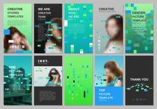 创造性的人脉故事设计,垂直的横幅或飞行物模板与五颜六色的元素,长方形,梯度 库存例证