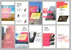 创造性的人脉故事设计,垂直的横幅或飞行物模板与几何红色色的五颜六色的梯度 库存例证