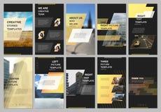 创造性的人脉故事设计,垂直的横幅或飞行物模板与几何黄色五颜六色的梯度 向量例证