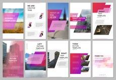 创造性的人脉故事设计,垂直的横幅或飞行物模板与桃红色色的五颜六色的梯度 向量例证