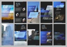 创造性的人脉故事设计,垂直的横幅或飞行物模板与蓝色色的五颜六色的梯度 向量例证