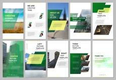 创造性的人脉故事设计,垂直的横幅,与几何绿色色的五颜六色的梯度的飞行物模板 向量例证