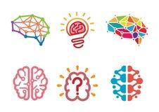 创造性的人脑子设计标志 库存图片