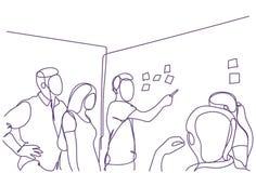 创造性的企业队激发灵感在证券交易经纪人行情室会议上,小组商人和女实业家乱画工作 库存例证