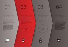 创造性的传染媒介模板-四个箭头用不同的颜色与 免版税库存照片
