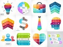 创造性的传染媒介箭头infographics集合,图,图表,图 3, 4, 5, 6, 7, 8循环选择,零件,步 人力 免版税库存照片