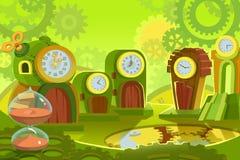 创造性的例证和创新艺术:背景设置了6 :时间土地 库存例证