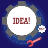 写笔记陈列想法 陈列创造性的创新想法的想象力设计计划的解答的企业照片 向量例证