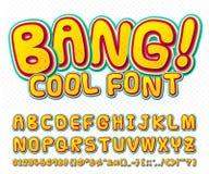 创造性的可笑的字体 在样式流行艺术的传染媒介字母表 向量例证