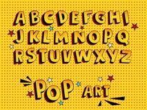 创造性的可笑的字体 在漫画样式,流行艺术的字母表 多层滑稽的黄色3d信件和形象,孩子例证的, 库存图片