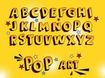 创造性的可笑的字体 在漫画样式,流行艺术的字母表 多层滑稽的黄色3d信件和形象,孩子例证的, 免版税库存照片